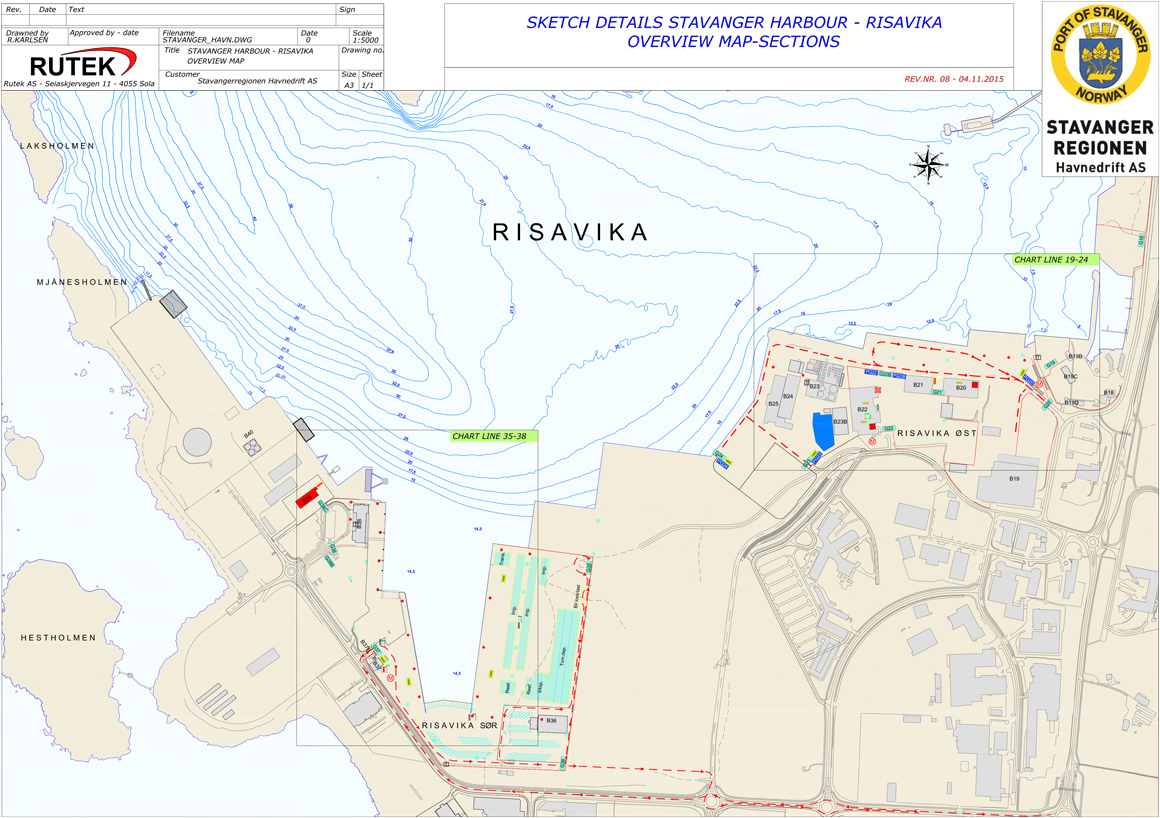Sketch details Stavanger harbour - Risavika overview map-sections