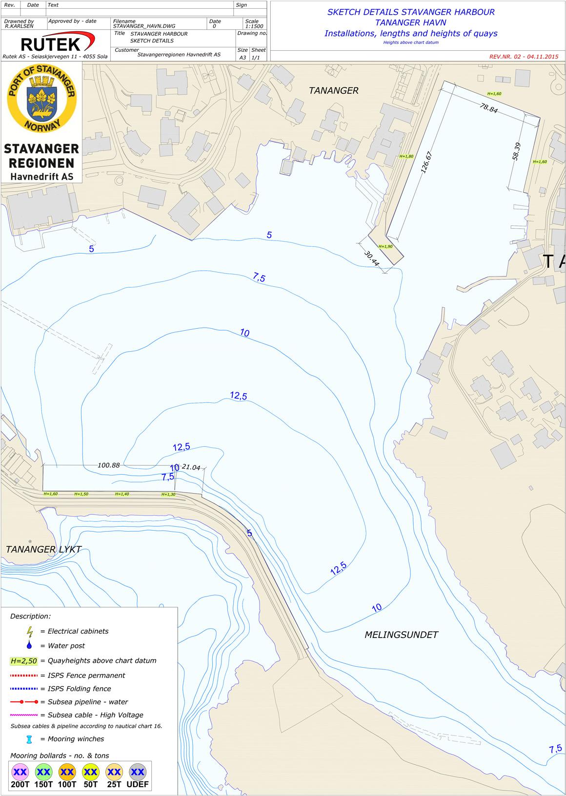 Sketch details Stavanger harbour - Tananger havn