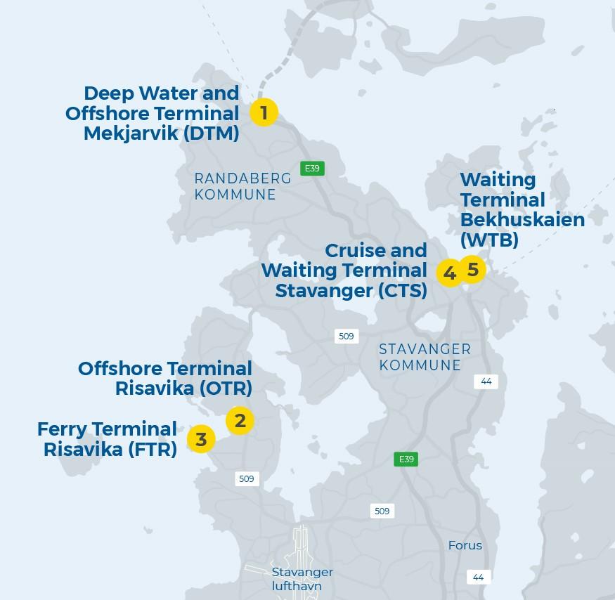 Stavangerregionen Havnedrift AS, våre havneanlegg hvor den nye adkomstløsningen tas i bruk