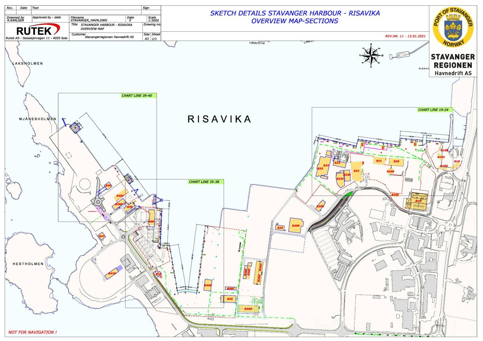 Sketch details Stavanger harbour - Mekjarvik overview map-sections